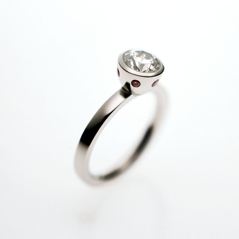 diamond engagement ring with pink diamonds