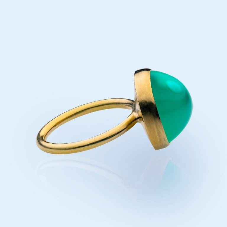 green opal ring with Fairtrade gold