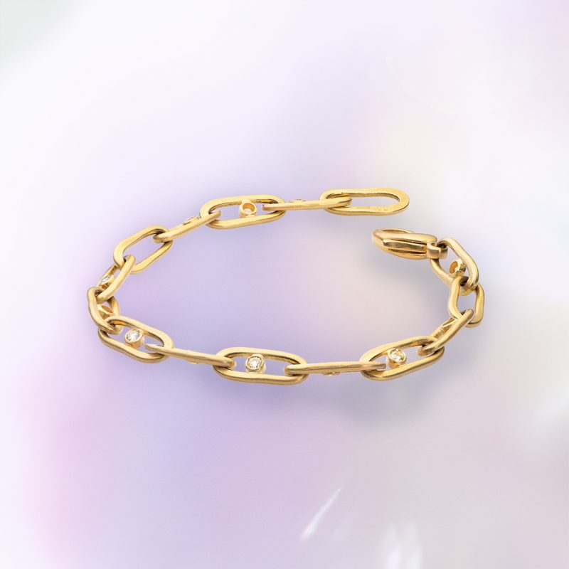 handmade diamond link bracelet in 18ct yellow gold